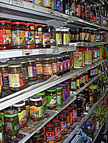 Loads and loads of products - all kinds of curry pastes, chilli sauces, preservatives...you name it.
