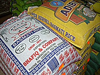 Big bags of all different kinds of rice is available