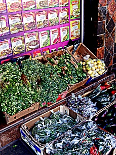 There are many vegetables and herbs sold on the sidewalk - very fresh and at very decent prices