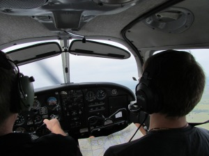 This was my view from the back seat. With Mr. Co-pilot navigating with a map.