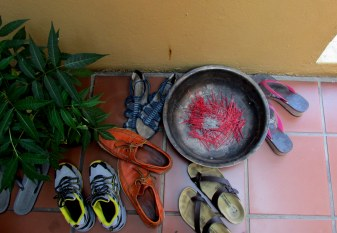 We had to take our shoes off before entering the Buddhist Temple, there was also lots of incense burnt.
