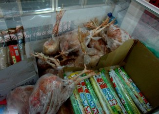Chickens for sale...they come with heads and feet.