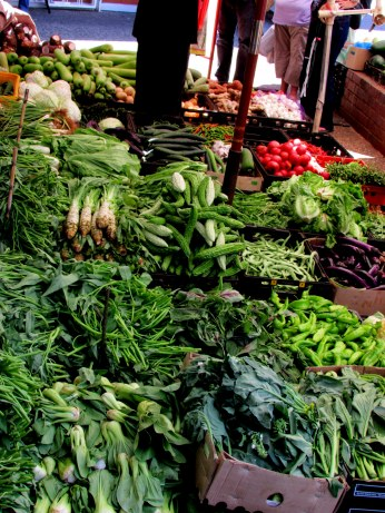 The vegetables on sale at one of the markets along the street. Many traditional Chinese vegetables that you won't find at our normal supermarkets.