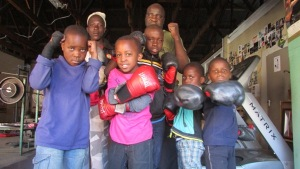 George Khosi and some of the kids at the Hillbrow Boxing Club