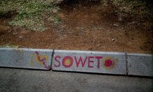 'I love Soweto' painted on a sidewalk