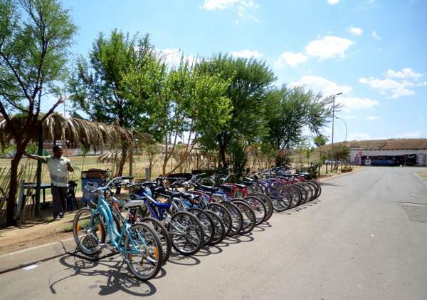 The bicycles that you use on the bicycle tour through Soweto.
