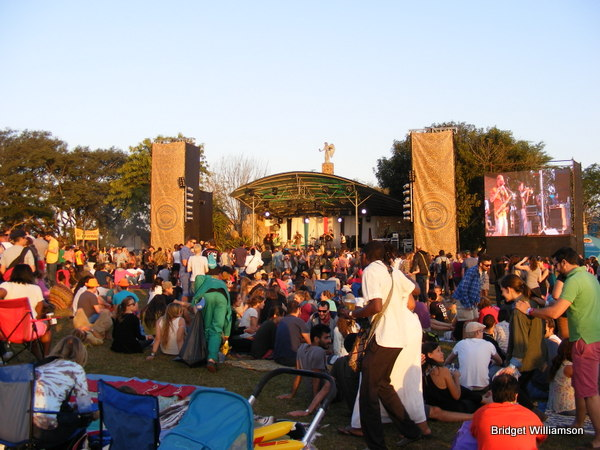 The crowd enjoying the music as the sun sets over Bushfire Festival.