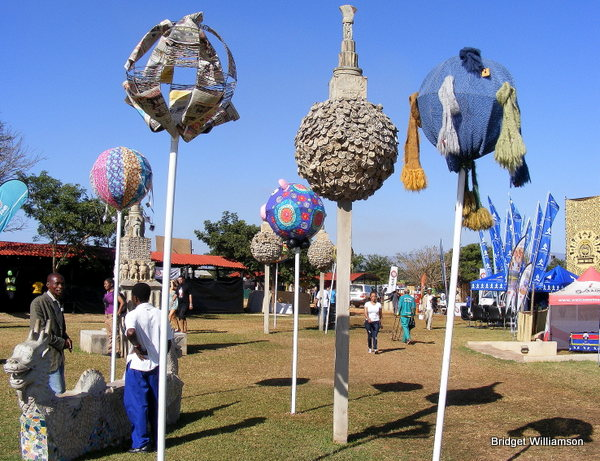Loved these giants balls on sticks, each of them were made of some or other recycled product. So creative!