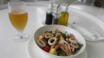 Seafood salad with calamari and prawns